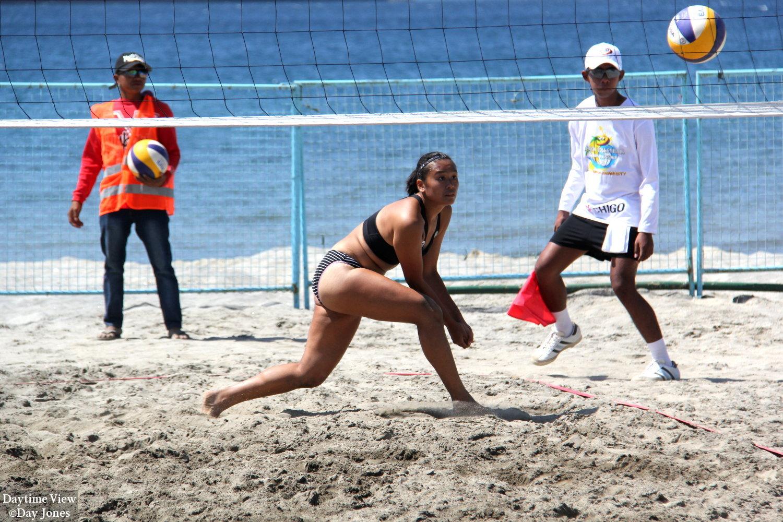 Ncaa Women S Beach Volleyball College Of Saint Benilde Vs Jose Rizal University Daytime View
